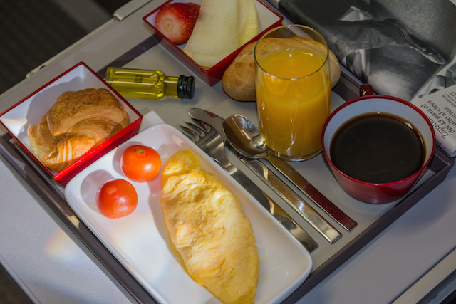 Breakfast in the airplane