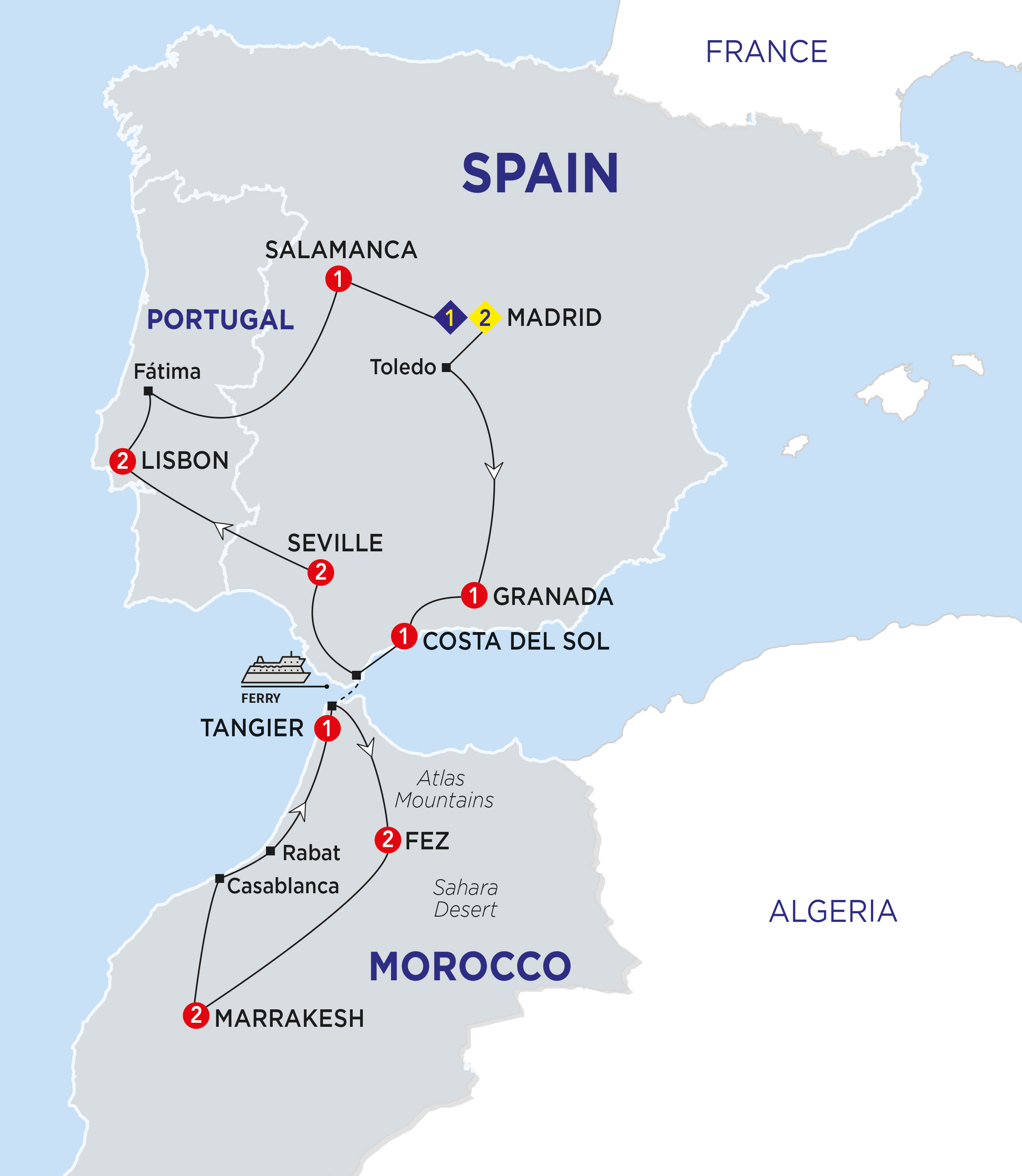 Map Of Spain Portugal And Morocco.Spain Portugal Morocco Traveling With Me Myself I
