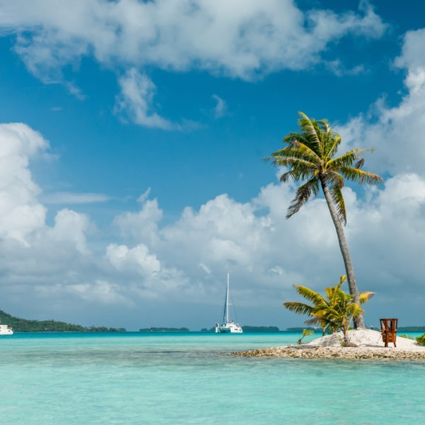 Sandy island with the palm inside the lagoon of Bora-Bora with the anchored catamarans beside